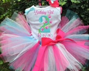 Personalized Pink and Blue Flower Birthday Three Piece Tutu Set - Birthday Tutu Outfit