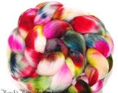 ARACARI - Corriedale Hand Painted Wool Roving Combed Top Spinning or Felting Fiber - 4.1 oz