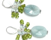 aquamarine faceted oval peridot crystal cluster drop earrings goldfilled or sterling