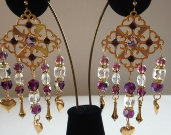 Chandeliers with Amethyst and Clear AB crystals