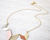 Sale 20% OFF Formica Tribal Necklace, gold silver chevron pastels bib arrow jewelry