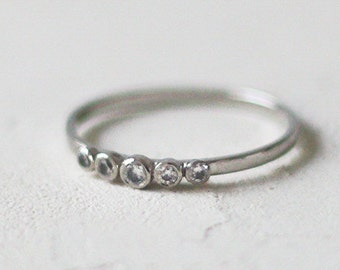 14k Gold Five Stone Diamond Ring, Anniversary Diamond Ring, Gold Engagement Ring, Real Diamond Eternity Ring, Five Stone Diamond Ring