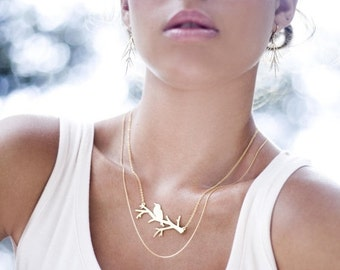 Sale 20% OFF Bird on Bare Branch Necklace in Gold- Large, woodland jewelry, holiday gift