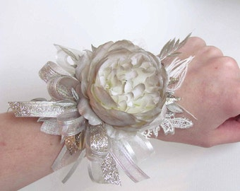 SALE PRICED...Champagne & Ivory Gatsby Corsage on a Pearl Wristband with matching Boutonniere...Ready to Ship