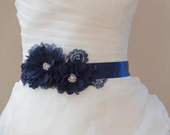 Nanvy Blue bridal sash, Flower Bridal Sash, Crystal wedding sash , Crystal sash , Beaded Sash, Rhinestone Bridal Sash, Flower Sash