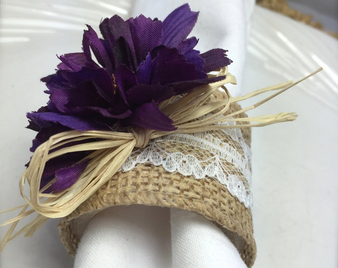 Featured listing image: Napkin Ring:  Purple Mums with burlap and lace - Spring - Easter - shower - housewarming -Dinner Party