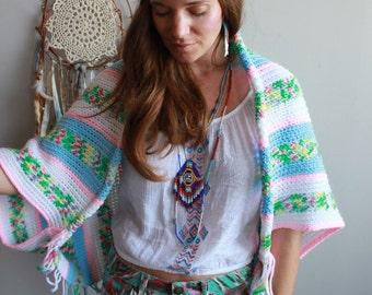 Boho Dreamer Crochet Fringe Batwing Sweater Jacket Upcycled OOAK Boho Hippie Womens Clothing