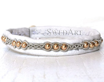 SwedArt B175 Rose Gold Lapland Sami Bracelet with 14K Rose Gold-Filled Beads and antler Button, White X-SMALL