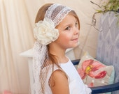 First Communion Headband Veil--CUSTOMIZED w polk-a-dot tulle for JAYNIE