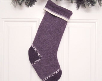 Purple Customizable Christmas Stocking Personalized Holiday Decoration Handcrafted from Felted Wool Sweaters no693