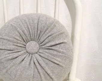 Gray Cashmere Round Throw Pillow Accent Decorative Couch Cushions Felted Cashmere Wool Pillow Decorative Pillows Lumbar Travel Pillow 943