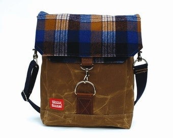 Waxed Canvas Satchel / Chuck Vintage Wool and Oiled Leather READY TO SHIP