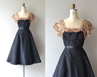 Grand Street dress | vintage 1950s party dress | taffeta and lace 50s dress