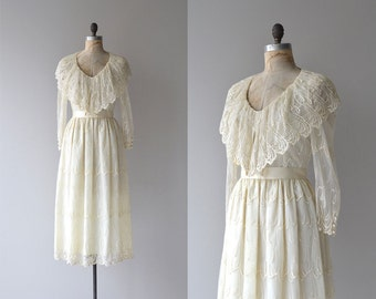 Tandem Dreaming dress | vintage cream lace 70s dress | romantic 70s dress