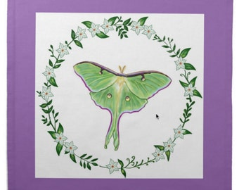 Luna Moth with Purple Border Cotton Tarot Cloth