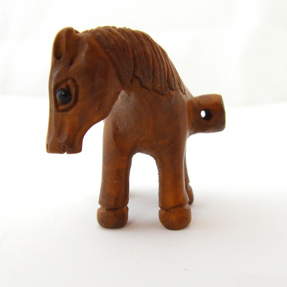 Ojime style hand carved horse boxwood button from