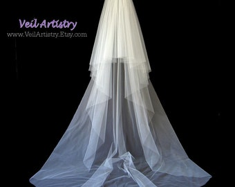 Wedding Veil, Radiance Veil, Chapel Veil, 2 Tier Wedding Veil, Cut Edge Veil, Ready To Go Veil, Handmade Veil