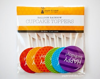 "SHOP THE SHELF Balloon Rainbow ""Happy Birthday"" Cupcake Toppers >> shipped to you <<"