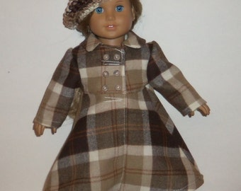 18 inch Doll Coat, Brown Plaid, Wool, Long Winter, Double Breasted,  American Made, Girl Doll Clothes
