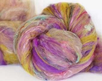 Gypsy Lady 4 oz  Wool - Merino- Art Batt // Wool Art Batt for spinning or felting NO SPARKLE