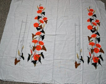 Alfred Shaheen Double Panel Hawaiian RARE Linen Floral Print