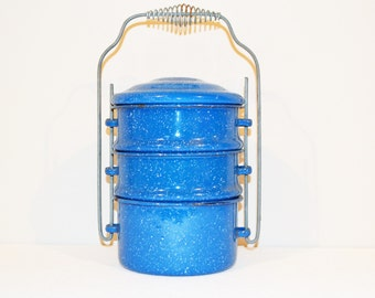 Vintage Blue Speckled Enamelware Stacking Meal to Go Rustic