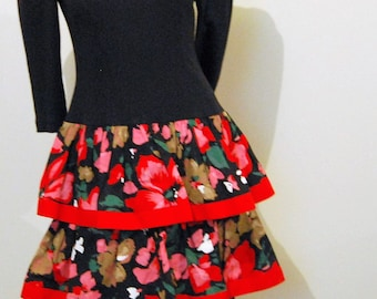 Vintage Dress Red Ruffles on Black
