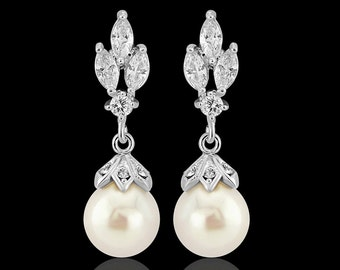 Pearl bridal earrings wedding pearl drop bridal earrings crystal 1930s vintage style crystal pearl drop wedding bridal earrings