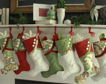 Christmas Stockings - Paisley Panache  - Bright & Cheery Paisley in Slightly Muted Shades of Red and Green