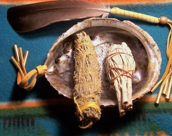 Smudge Kit Smudging with large abalone shell