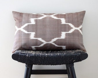 ON SALE BROWN Ikat Silk Cotton 50 x 30 cm, 20 x 12 inch, Cushion Cover, Throw Pillow