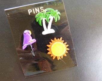 Vintage MOD 1980s Scatter Pins Painted Enamel Broochs Beach Vacation themed , Palm Tree , Sun , Purple Parrot Small Bright Funky Goodness