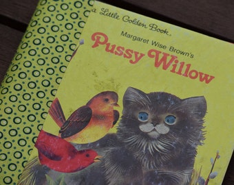 Baby Girl Memory Book--Upcycled Little Golden Book--Pussy Willow