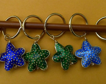 Stitch markers for knitting or crochetting work,  6 pcs, made  cloisonne beads - starfish, large rings