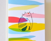 Kiki Bliss - Cat Card - Colorful Cat - Rainbow - Thinking of You Card