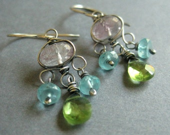 Moss Amethyst Chandelier Earring, Green Peridot, Aqua Apatite Earrings, Holiday Fashion, Party Earrings