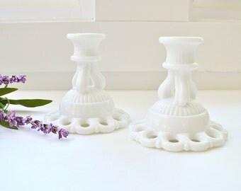 ON SALE Milk Glass Candlesticks  Milk Glass Candle Holders  Milk Glass Candleholders  Set of 2  White Candleholders Cottage Decor