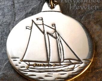 Schooner Olad - Pewter Pendant - Camden, Maine - Ocean, Sailing Ship Jewelry, Built in 1927