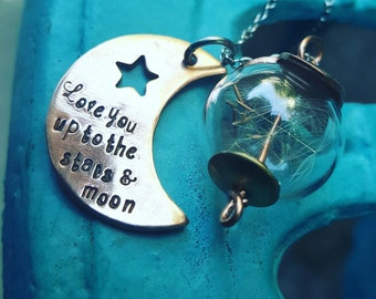 Wish and love Pendant, with cute dandelions, Dandelion pendant, wishing dandelion seeds, love you up to the moon and stars, moon pendant