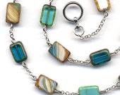 Turquoise Necklace, Multicolor  Necklace  With Unique Czech Beads, Fantasy in Blue and Brown Necklace