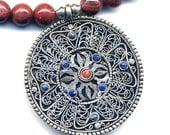 Coral Mandala, Nepal Necklace, Red Poppy Jasper Necklace, Tibet Mandala, Double Dorje necklace, Handmade Nepal Jewelry by AnnaArt