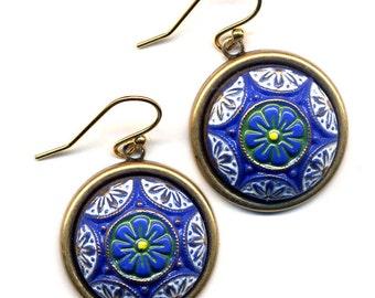 Art Deco Earrings, Vintage Glass Earrings, 18 K Golld Filled Ear Wire design,LAST PAIR Blue Gold Earrings , handmade jewelry by annaart72