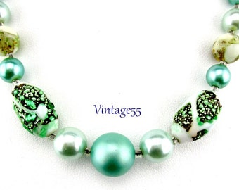Necklace Foil Teal Green Beaded Choker Spring Summer