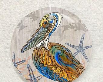 Pelican Perch Glass Ornament & Suncatcher, Christmas Ornaments