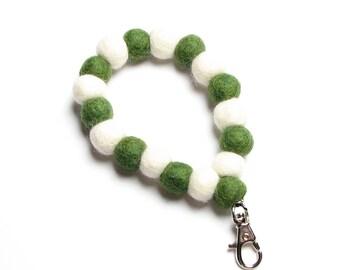 Wristlet - Green & Winter White