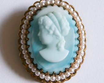 Baby Blue West Germany Cameo Brooch