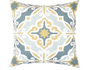 Yellow Gray Decorative Accent Pillow COVER -  Harford / Hartford Saffron Yellow Grey Macon - Sizes Available: 16x16, 18x18, 20x20