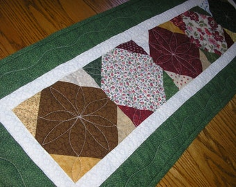 Quilted Table Runner, Everyday Green, Brown and Red Reversible Runner,  14 x 38  inches