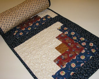Quilted Table Runner, Navy and Dark Red Log Cabin,  14 x 53 inches