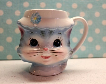 Vintage Original Miss Priss Cat Kitten Blue Cup Mug, Rare #3553 Lefton 1950s